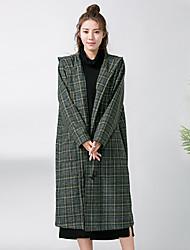 Feminino Casaco Para Noite Simples Sofisticado Inverno Outono,Estampado Secar no Plano Lavar do Avesso Lã Com Capuz-Manga Longa Padrão