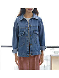A2017 spring and autumn loose denim jacket female college wind big pocket jeans jacket stock