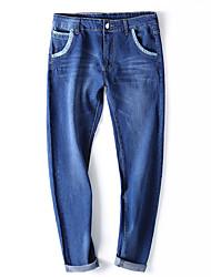 Hommes Grandes Tailles Mince Jeans Pantalon,Vintage simple Street Chic Décontracté / Quotidien Soirée Couleur Pleine Taille Basse Bouton