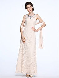 LAN TING BRIDE Sheath / Column Mother of the Bride Dress - Wrap Included Floor-length Sleeveless Lace with Beading Crystal Detailing