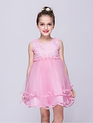 Ball Gown Knee Length Flower Girl Dress - Organza Sleeveless Jewel Neck with Pearl by YDN