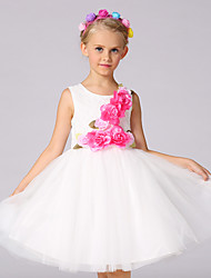 Ball Gown Knee-length Flower Girl Dress - Cotton Lace Organza Satin Sleeveless Jewel with Bow(s) Flower(s) Lace
