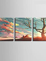 E-HOME® The Desert Tree Clock in Canvas 3pcs
