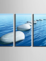E-HOME Stretched Canvas Art Stone Road On Water Decoration Painting Set Of 3