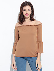 Women's Going out Beach Sexy Simple Blouse,Solid Boat Neck ¾ Sleeve Brown Rayon