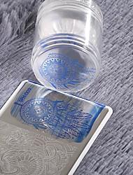 nouvelle tête double matrice silicone nail art de gelée claire avec bouchon en strass en plastique racleur outil d'art d'ongle de manucure