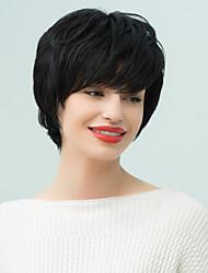 преобладание духа пушистый короткий естественный волнистый парик человеческих волос
