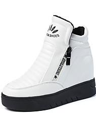 Damen-Stiefel-Lässig-PU-Flacher Absatz-Komfort-Schwarz Weiß Gold