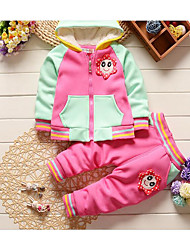 Girl Casual/Daily Solid Sets,Cotton Spandex Winter Fall Long Sleeve Clothing Set
