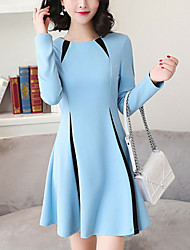 Women's Slim A Line DressColor Block Patchwork Round Neck Above Knee Long Sleeve  Blue Gray Spring High Rise
