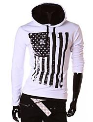 Herren Solide Einfach Lässig/Alltäglich T-shirt,Mit Kapuze Kurzarm Blau Rot Weiß Baumwolle