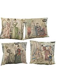 Set of 4 Palace retro pattern  Linen Pillowcase Sofa Home Decor Cushion Cover