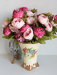 1 Ramo Poliéster Peônias Flor de Mesa Flores artificiais 10