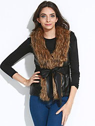 Women's Sophisticated Summer Fur Coat,Solid V Neck Sleeveless Short Bow