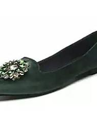 Women's Flats Comfort PU Spring Summer Casual Comfort Pearl Low Heel Black Ruby Green Under 1in