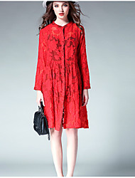 Women's Plus Size Going out Holiday Vintage Simple Cute Loose Shirt Dress,Jacquard Cut Out Stand Knee-length Long Sleeve Cotton Polyester