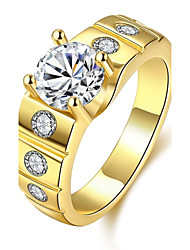 Anéis Zircônia cúbica Diário Casual Jóias Zircão Cobre Prata Chapeada Chapeado Dourado Rosa Folheado a Ouro Masculino Anel 1peça,8 9 10