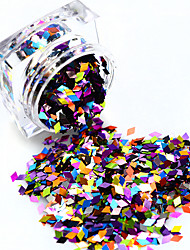 1 Bottle Sparkly Rhombus Paillette Nail Art Colorful 3D Sequins Laser Glitter Dazzling Mixed Colorful DIY Shining Tips