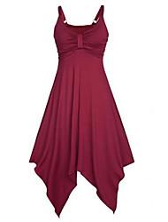 Feminino balanço Vestido, Praia Festa/Coquetel Sensual Sólido Com Alças Assimétrico Sem Manga Azul Vermelho Preto Verde Raiom Poliéster