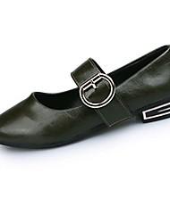 Women's Flats Summer Light Soles PU Casual Flat Heel Black Brown Green