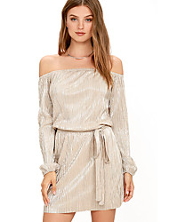 Women's Going out Party/Cocktail Club Sexy Vintage Simple A Line Shift Tunic Dress,Solid Ruched Strapless Mini Above Knee Long Sleeve