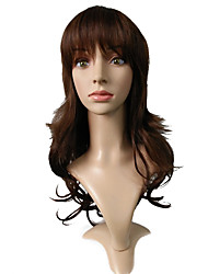 Synthetic Wig Heat Resistant Wig Body Wave Brown Long Curly Wavy Hairstyle Party Wig
