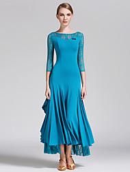 Ballroom Dance Dresses Performance Lace / Lycra Draped / Lace 1 Piece 3/4 Length Sleeve Natural DressS:128cm M:129cm L:130cm XL:131cm