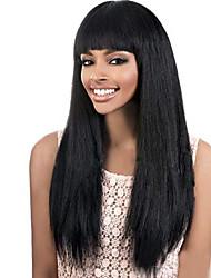 grau 9a cabelo virgem yaki rendas frente perucas linha reta do Brasil com a Bang natural, preto virgem do cabelo humano perucas de cabelo