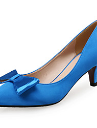 Women's Heels Comfort Silk Fabric Wedding Party & Evening Dress Low Heel Bowknot Black Blue Red