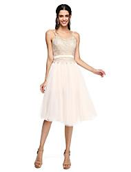 Lanting Bride® Knie-Länge Tüll Elegant Brautjungfernkleid - A-Linie Spaghetti-Träger mit Applikationen Schärpe / Band