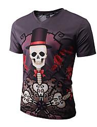 Herren Druck Street Schick Aktiv Punk & Gothic Klub Lässig/Alltäglich Party/Cocktail T-shirt,V-Ausschnitt Alle Saisons Kurzarm Schwarz