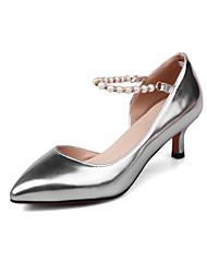 Damen-High Heels-Kleid-Kunstleder-Kitten Heel-AbsatzGold Silber Purpur Rot