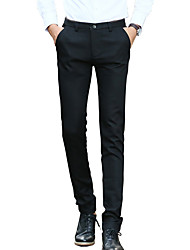 Men's Plus Size Slim Chinos Business Pants,Casual/Daily Work Vintage Simple Street chic Solid Low Rise Zipper Button Cotton Micro-elastic