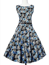 Feminino Bainha balanço Vestido, Formal Festa/Coquetel Férias Vintage Fofo Moda de Rua Estampado Decote Redondo Altura dos JoelhosSem