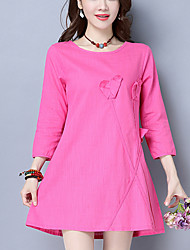 Women's Casual/Daily Street chic Loose Dress Solid Flower Above Knee 3/4 Sleeve Cotton Linen Fuchsia /Orange Summer Mid Rise Inelastic