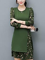 Trapèze Robe Femme Sortie Grandes Tailles Chic de Rue,Mosaïque Col Arrondi Au dessus du genou Manches Longues Noir Vert Polyester