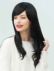 Slightly Curled Oblique Bang Long Human Hair Wig