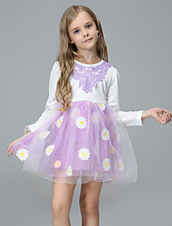 Age Season Girls Fawn Cotton Printing Splicing Long-sleeved Dress