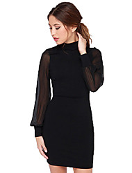 Women's Sexy Halter Neck Chiffon Long Sleeve Dress Mesh Patchwork Backless Bodycon Dress