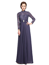 LAN TING BRIDE A-line Mother of the Bride Dress - Elegant Floor-length Long Sleeve Chiffon Lace with Beading Lace Pleats