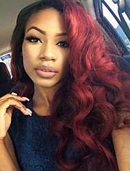 Two Tone Ombre Virgin Human Hair Full Lace Wigs Loose Wave Hair T1B/99J Color Brazilian Virgin Hair Lace Wigs For Fashion Woman