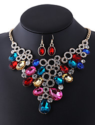 European and American fashion jewelry circle geometric diamond necklace earrings set horse eye set chain 0193# clavicular drill