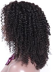 180% de alta densidade afro encaracolados peruca peruana do laço do cabelo peruca dianteira 13 * 6 16 polegadas cor natural parte livre