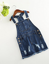 Girl Casual/Daily Solid Overall & Jumpsuit-Cotton Rayon Summer Spring