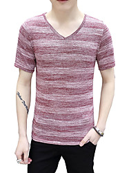 Men's Plus Size Casual/Daily Beach Vintage Cute Street chic Summer T-shirt,Solid Striped V Neck Short Sleeve Blue Red Beige Brown Gray