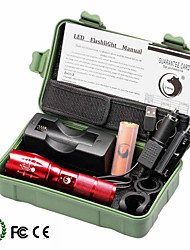 U'King ZQ-G7000-Red#4 CREE XML-T6 2000LM Portable Zoom Flashlight Torch Kit 5Modes with Battery and Charger