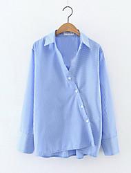 Chemise Femme,Rayé Sortie Plage Vacances Sexy simple Printemps Manches Longues Col de Chemise Bleu Coton Polyester Fin