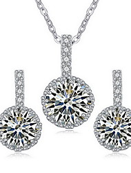 Jewelry 1 Necklace 1 Pair of Earrings AAA Cubic Zirconia Party Zircon 1set Women Gold White Red Wedding Gifts