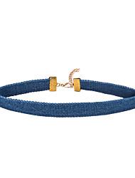1cm Width Sky Blue Denim Necklace Non Stone Choker Necklaces Jewelry Women 1pc