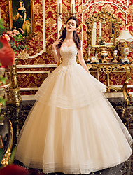 Ball Gown Wedding Dress - Classic & Timeless Simply Sublime Floor-length Strapless Tulle with Beading Ruffle Sequin
